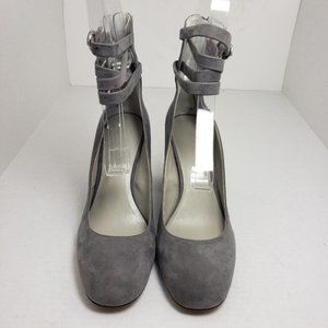 1. State Makal Gray Closed Toe Buckle Block Heels